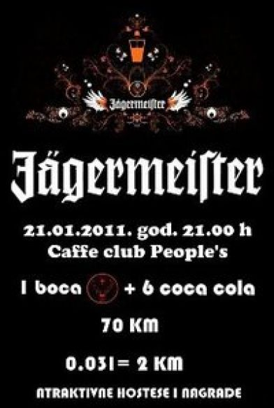Petak je vrijeme za JÄGERMEISTER party u caffe club People's